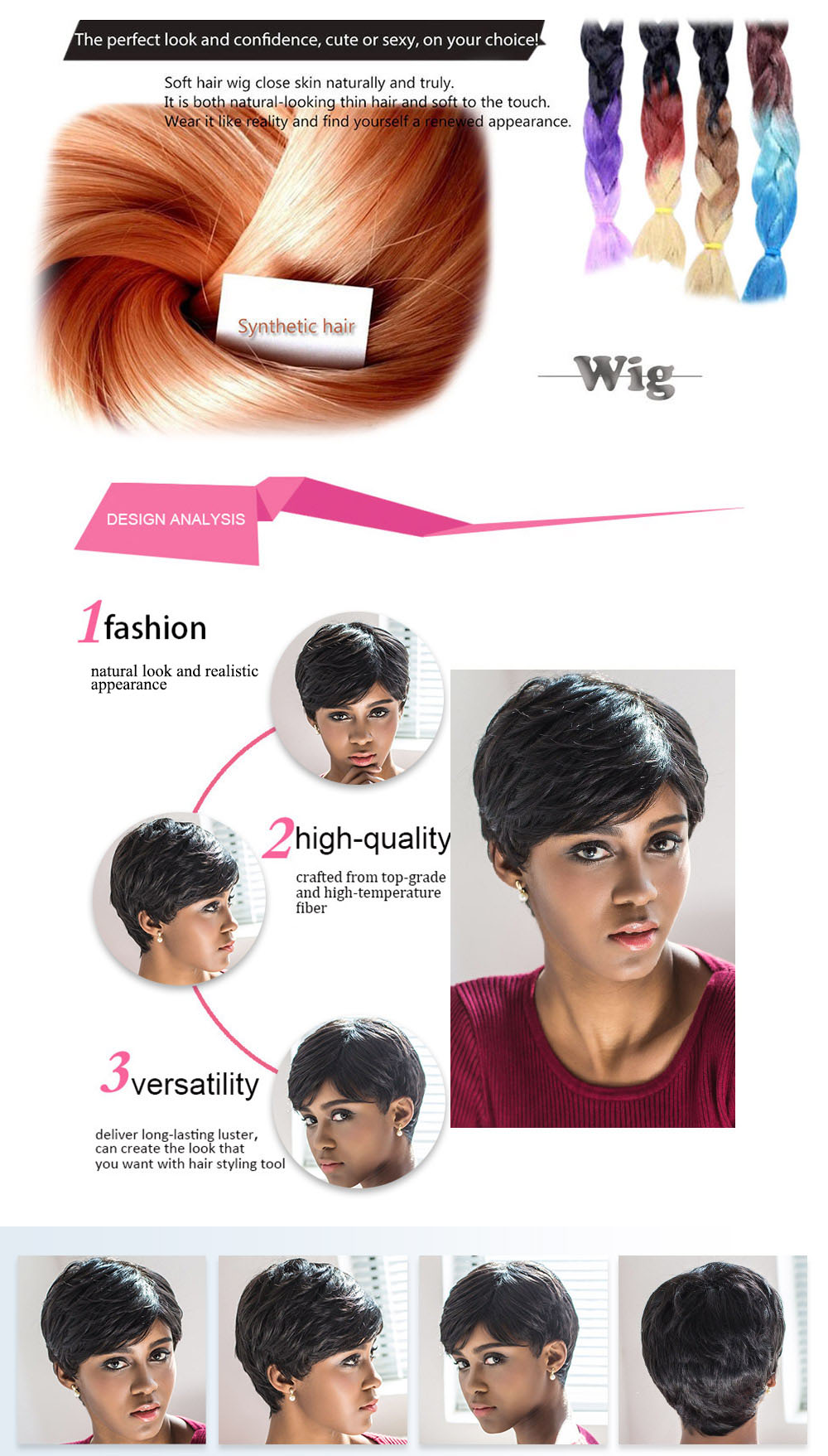 AISIHAIR Short Slightly Curly Black Synthetic Wigs with Side Bangs for Women