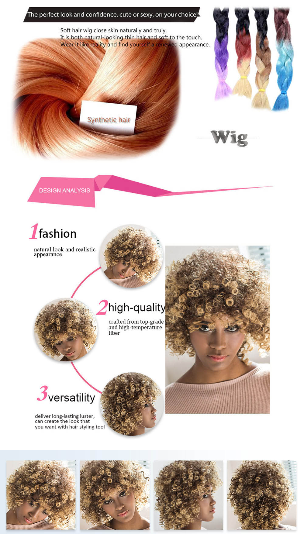 AISIHAIR Short Afro Curly Mixed Color Side Bang Towheaded Synthetic Hair Wigs for Women