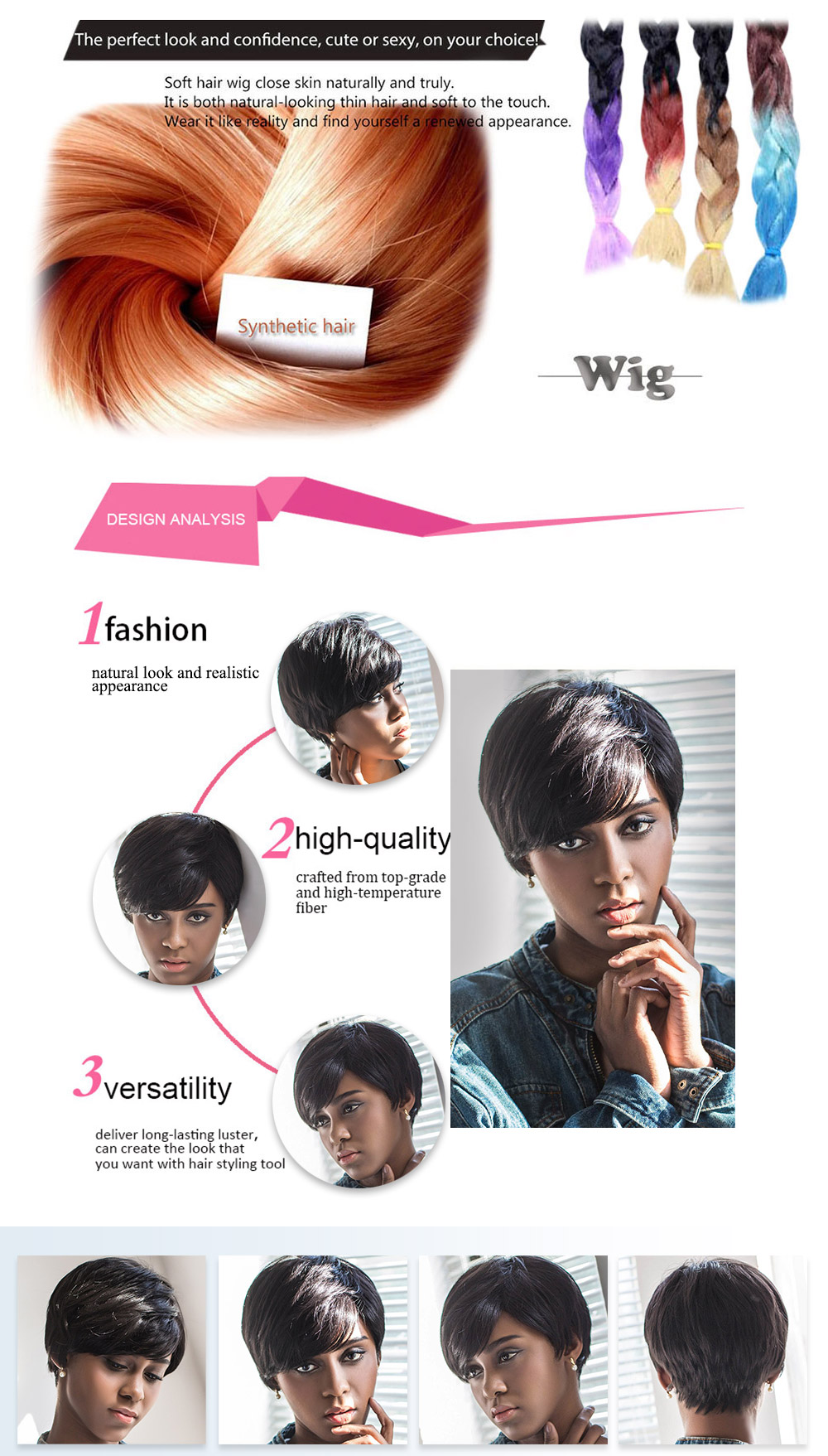 AISIHAIR Short Pixie Cutting Side Bangs Black Wigs Synthetic Hair for Women