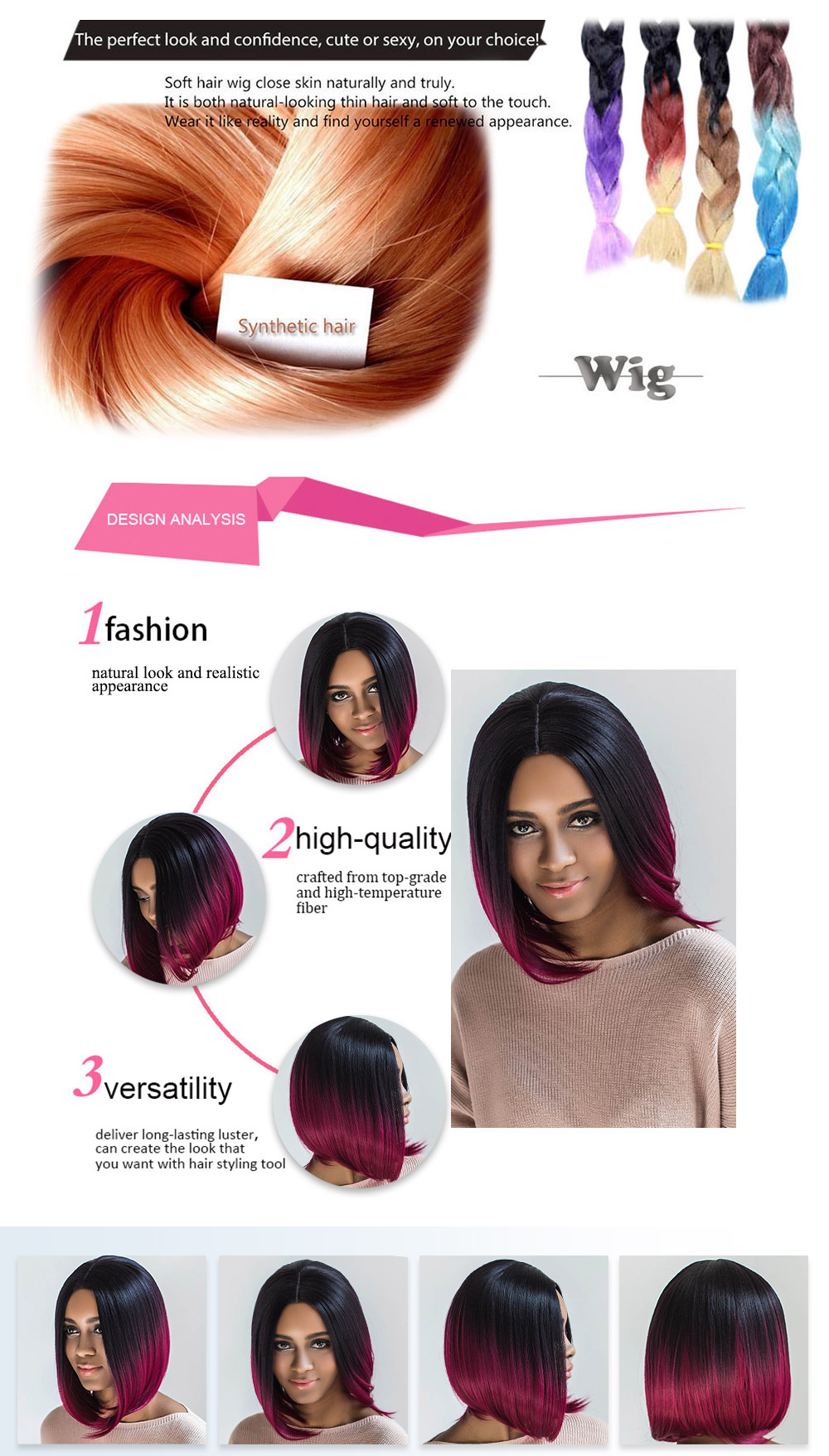 AISIHAIR Straight Middle Parting Mixed Colors Wine Red Wigs Blunt Lob Hairstyle for Women