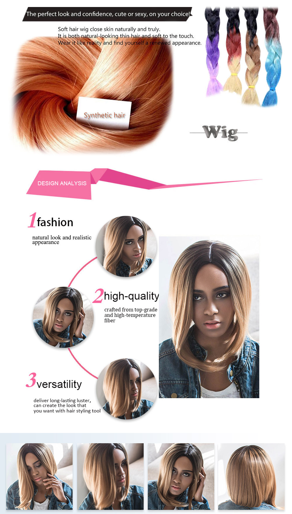 AISIHAIR Women Short Lob Gradient Color Straight Asymmetrical Side Parting Synthetic Wigs
