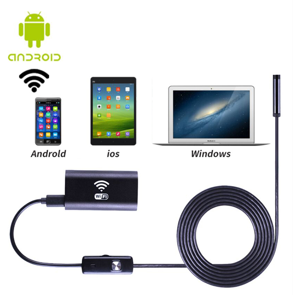 8mm WiFi Endoscope P67 Waterproof Inspection Camera 6 LED Wire Borescope for Android / Windows / iOS