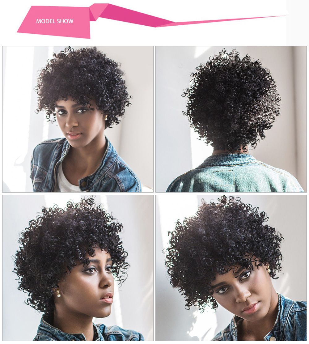 AISIHAIR Women Short Fluffy Black Afro Curly Synthetic Hair Wigs