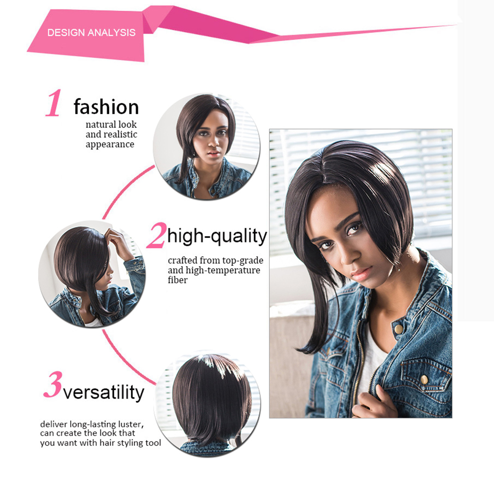 AISIHAIR Side Parting Short Asymmetrical Straight Black Synthetic Wigs for Women