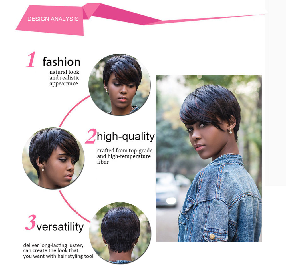 AISIHAIR Short Side Bangs Straight Mixed Color Synthetic Wig Pixie Cutting Hairstyle for Women