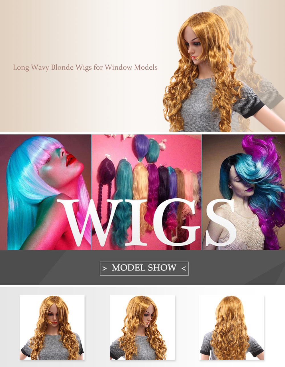 Long Wavy Blonde Wigs for Window Models Cosplay Masquerade