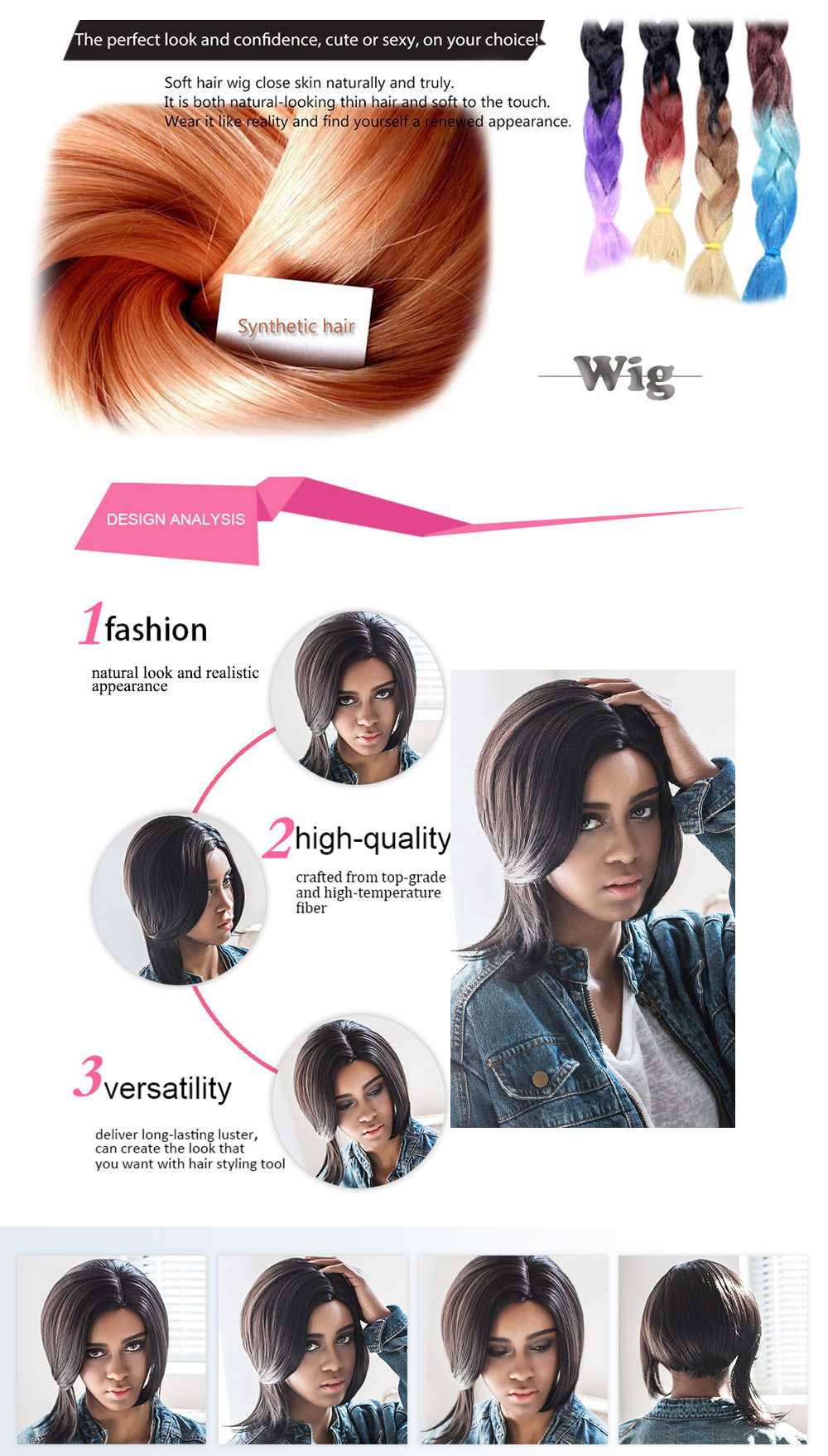 AISIHAIR Women Side Parting Short Asymmetrical Straight Wigs Synthetic Hair
