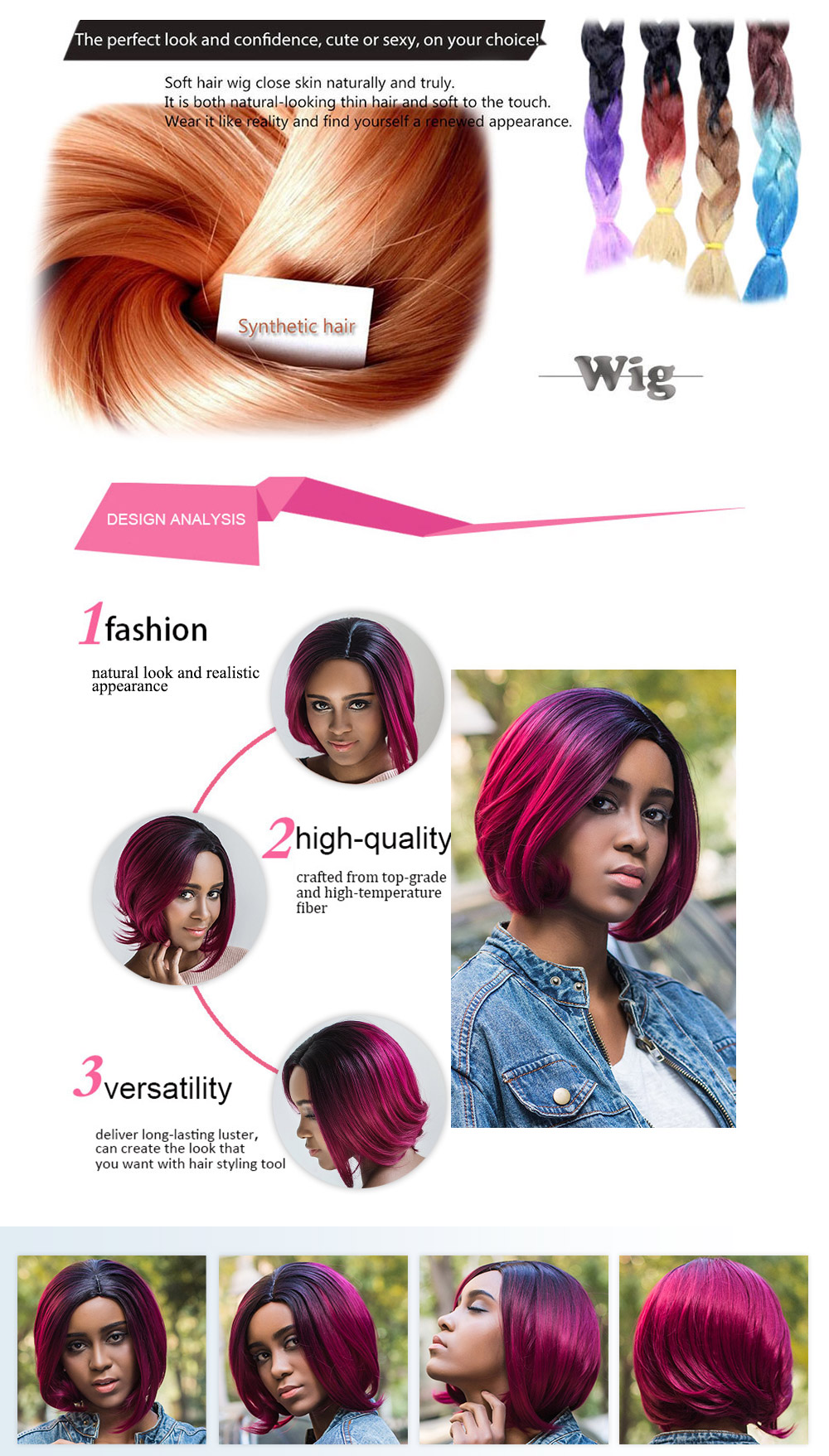 AISIHAIR Short Loose Wavy Lob Cutting Mixed Colors Synthetic Wigs for Women