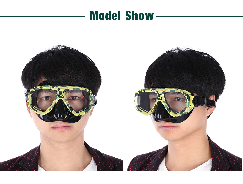 Diving Spearfishing Mask Camouflage Scuba Gear with Tempered Glass Lens
