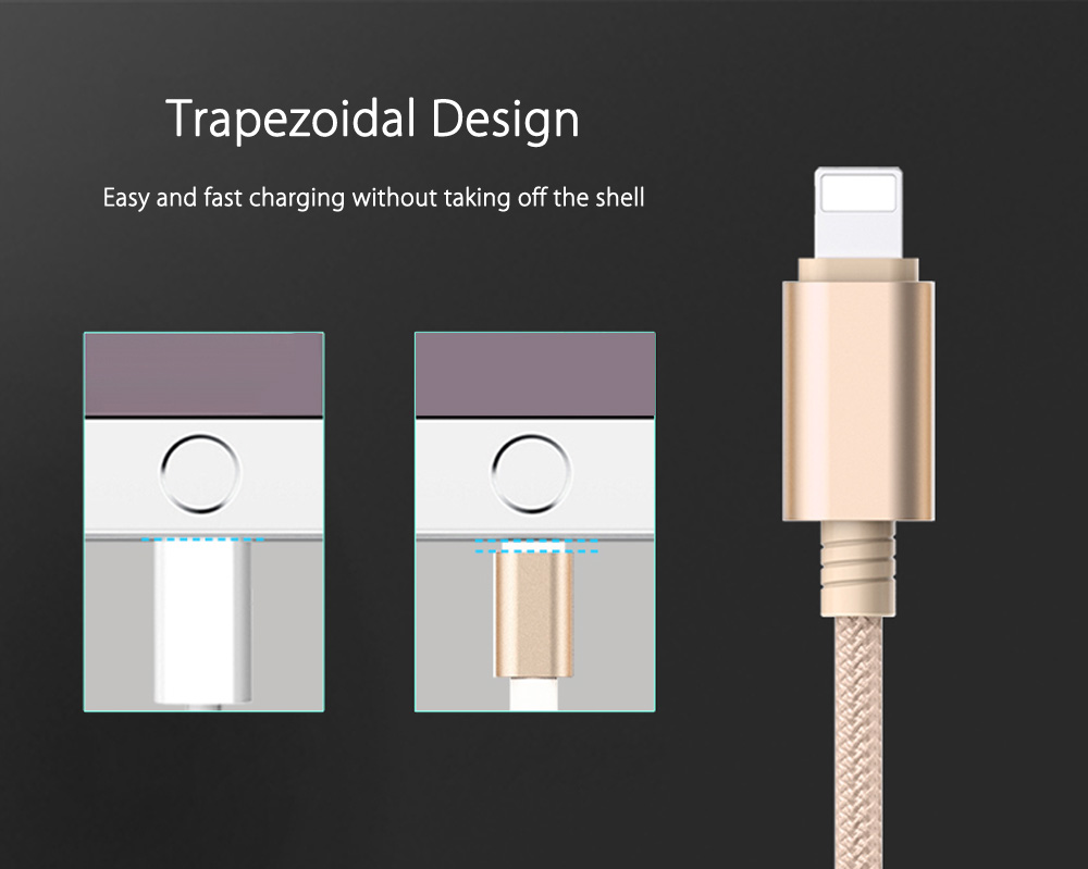 Rock 3 in 1 8 Pin Micro USB Type-C Port Sync Data Charging Cable - B 1.2M