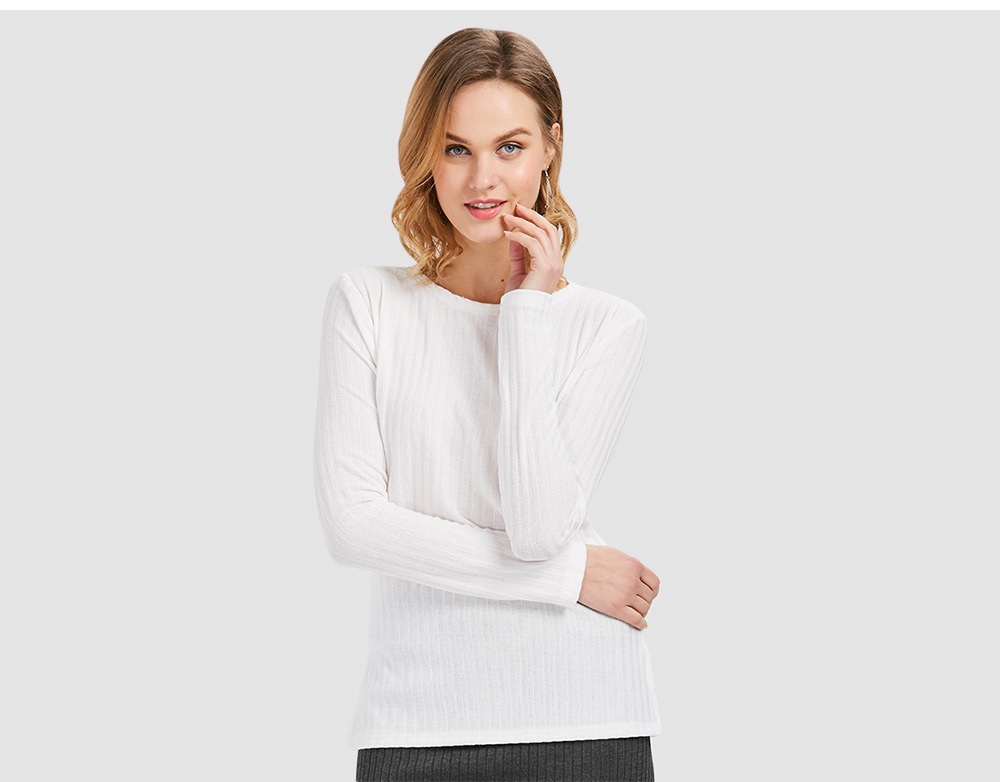 Stylish Long Sleeve Round Collar Criss Cross Bandage Sweater for Women