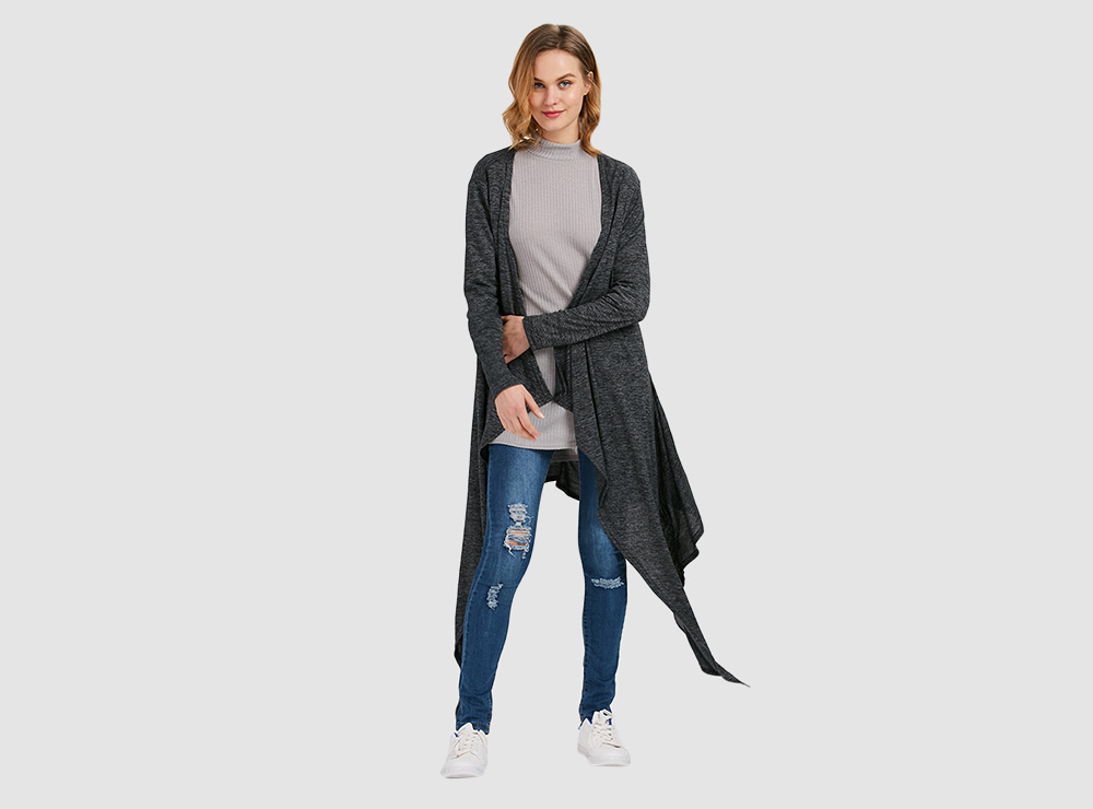 Stylish Long Sleeve Collarless Hollow Asymmetrical Cardigan for Women