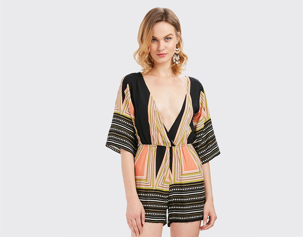 Sexy Half Sleeve Plunging Neck Printed Backless Jumpsuit for Women
