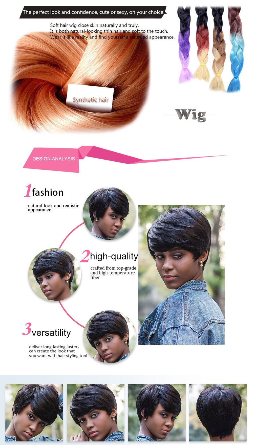 AISIHAIR Short Natural Straight Pixie Cutting Black Wigs for Women