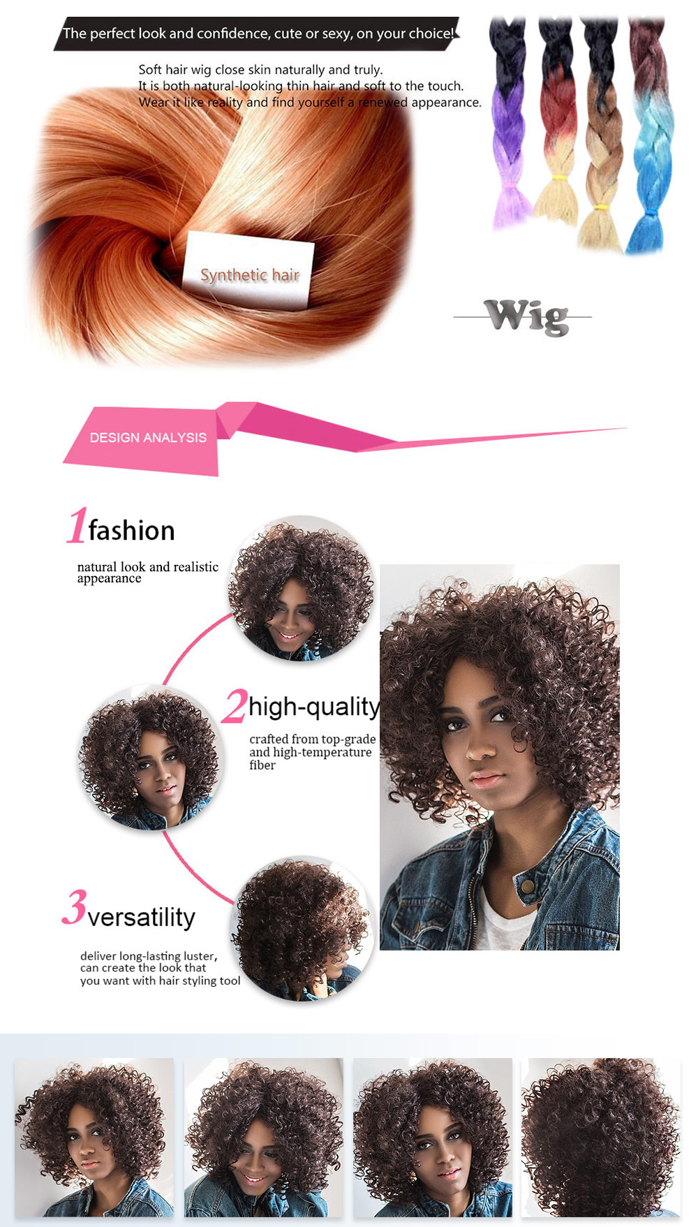AISIHAIR Kinky Afro Short Curly Side Parting Black Wigs for Women
