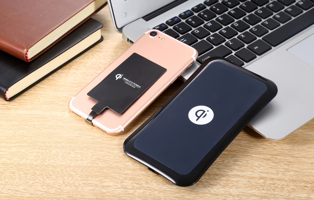 Itian Qi Wireless Charger + Charging Receiver + Transparent Protective Skin for iPhone 7