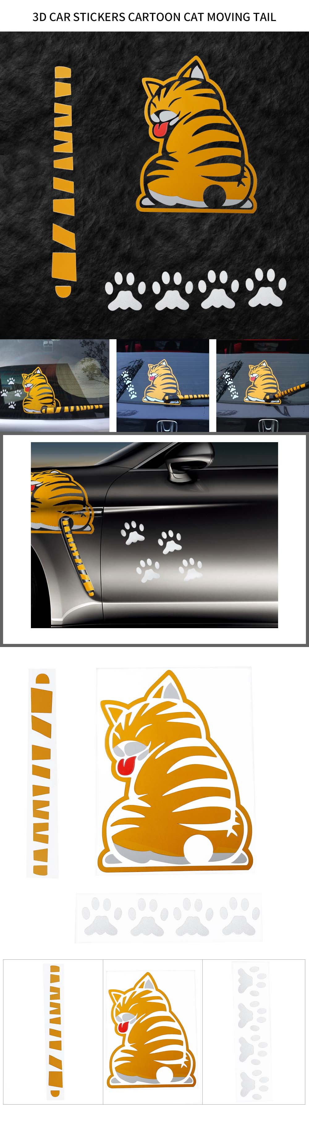 3D Car Stickers Cartoon Funny Cat Moving Tail Reflective Car Styling Decals Rear Windshield Decor