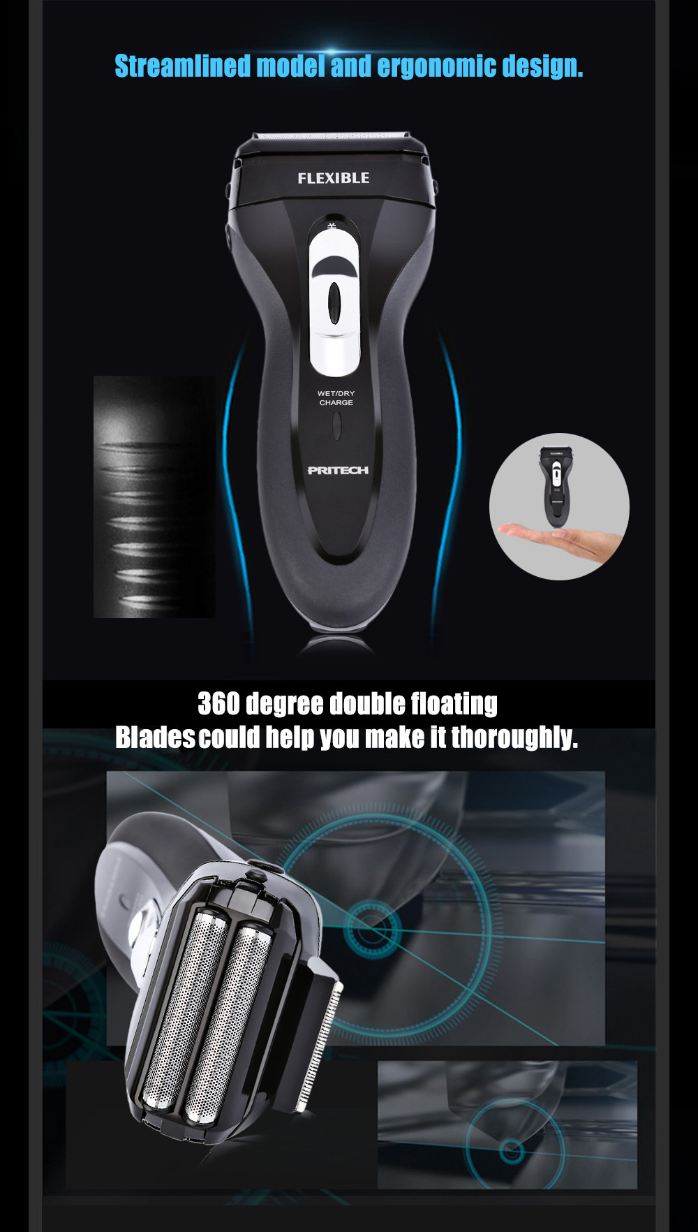 Pritech RSM - 1308 3D Rechargeable Reciprocating Heads Shaver with Trimmer for Men