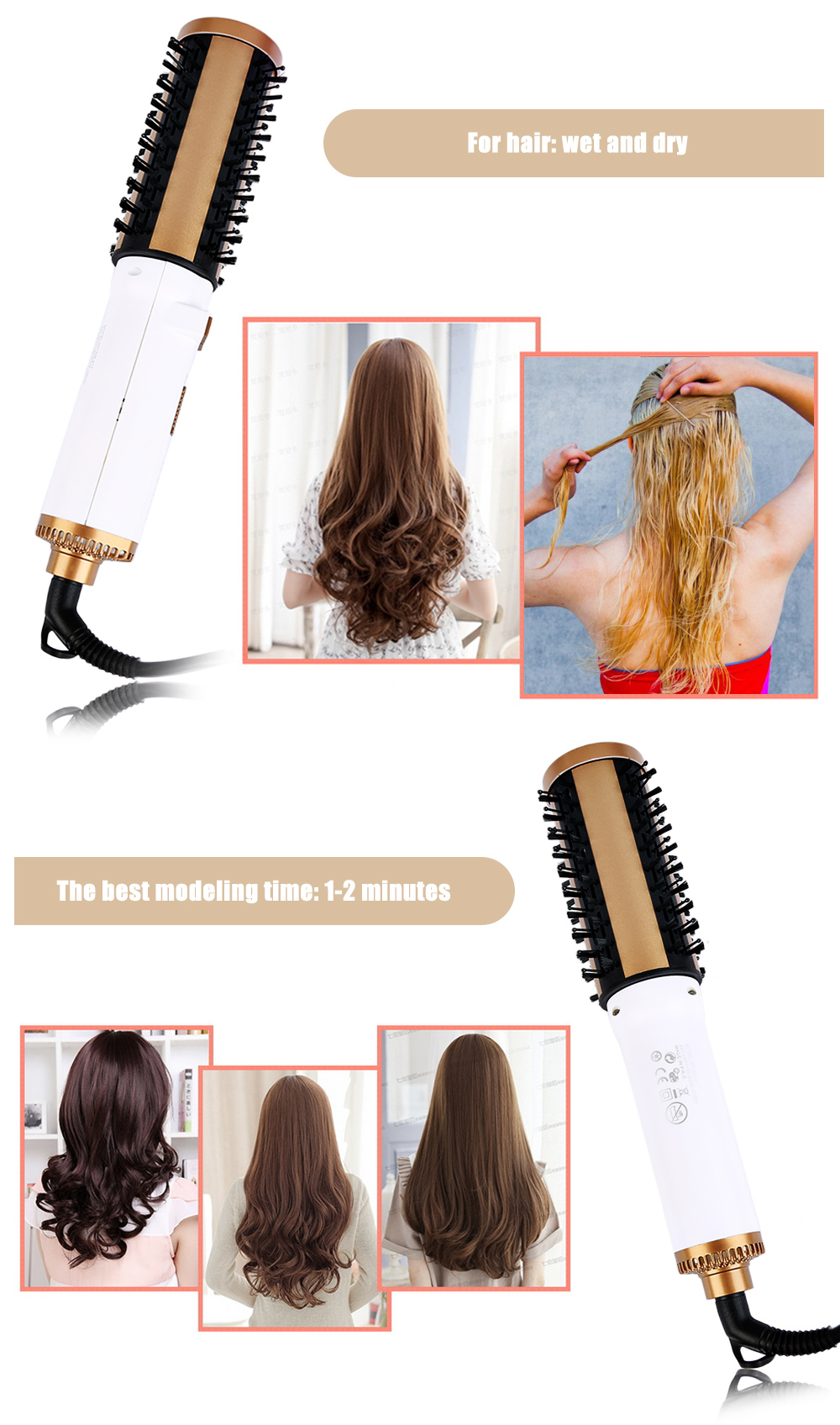 Kemei KM - 817 Hair Styling Tool Negative Ion Hair Care Volume Dryer Curler Comb