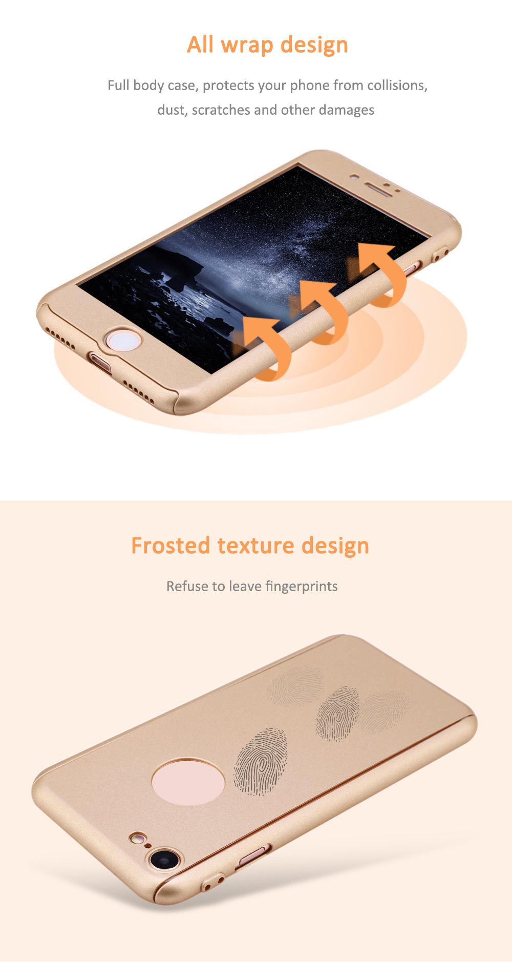 360 Degree Full Protective Case Frosted Hard PC Back Cover for iPhone 7
