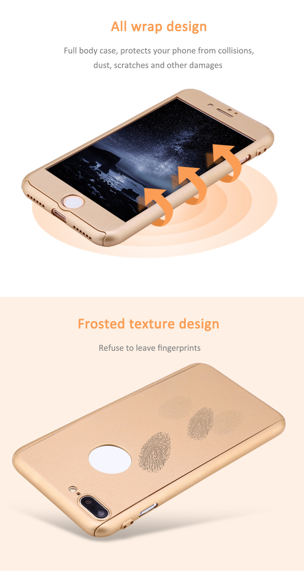 360 Degree Full Protective Case Frosted Hard PC Back Cover for iPhone 7 Plus