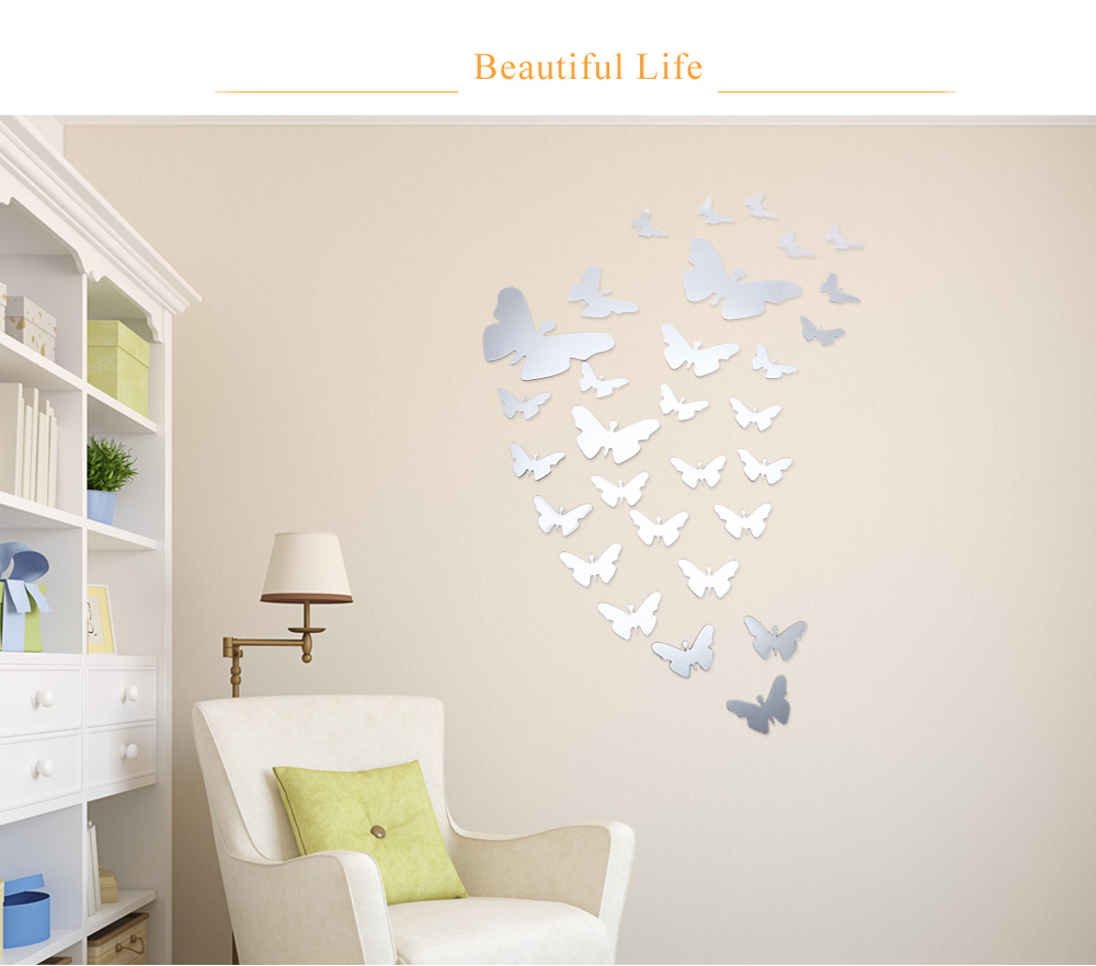 DIY 3D Butterfly Mirror Acrylic Wall Sticker Home Decoration