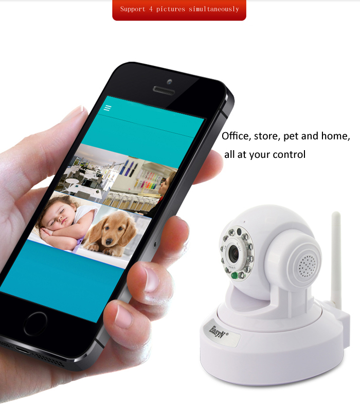 EasyN 176 1.0MP H.264 CMOS Wireless IP Camera with Pan / Tilt Night Vision Support TF Card EU Plug - 100 - 240V