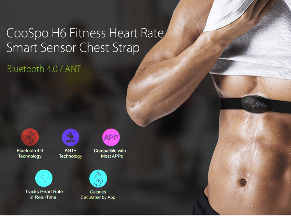 CooSpo H6 Outdoor Fitness Sport Bluetooth 4.0 ANT Heart Rate Smart Sensor Chest Strap