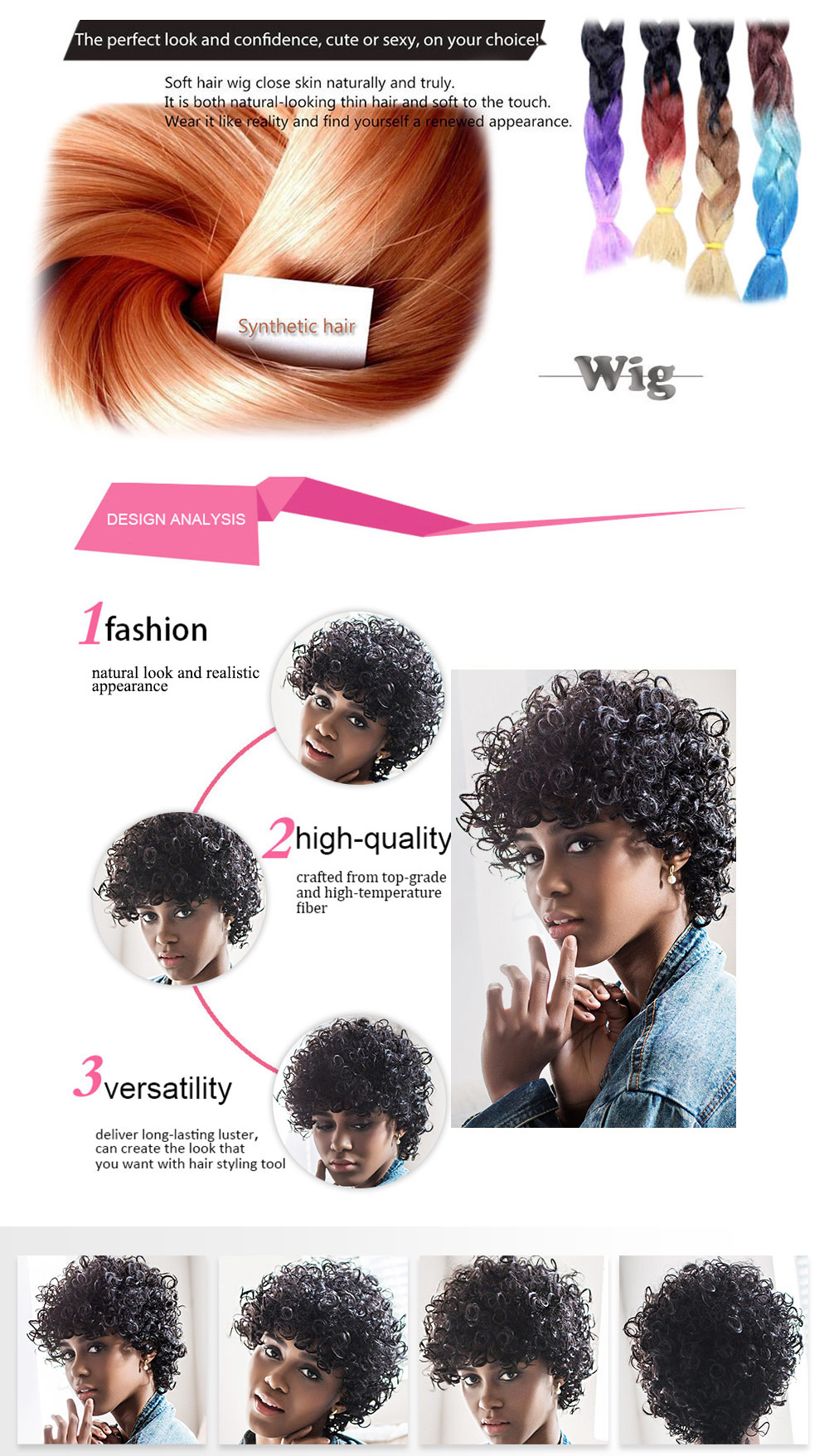 AISIHAIR Kinky Cute Short Natural Curly Black Wigs Afro Hairstyle for Women