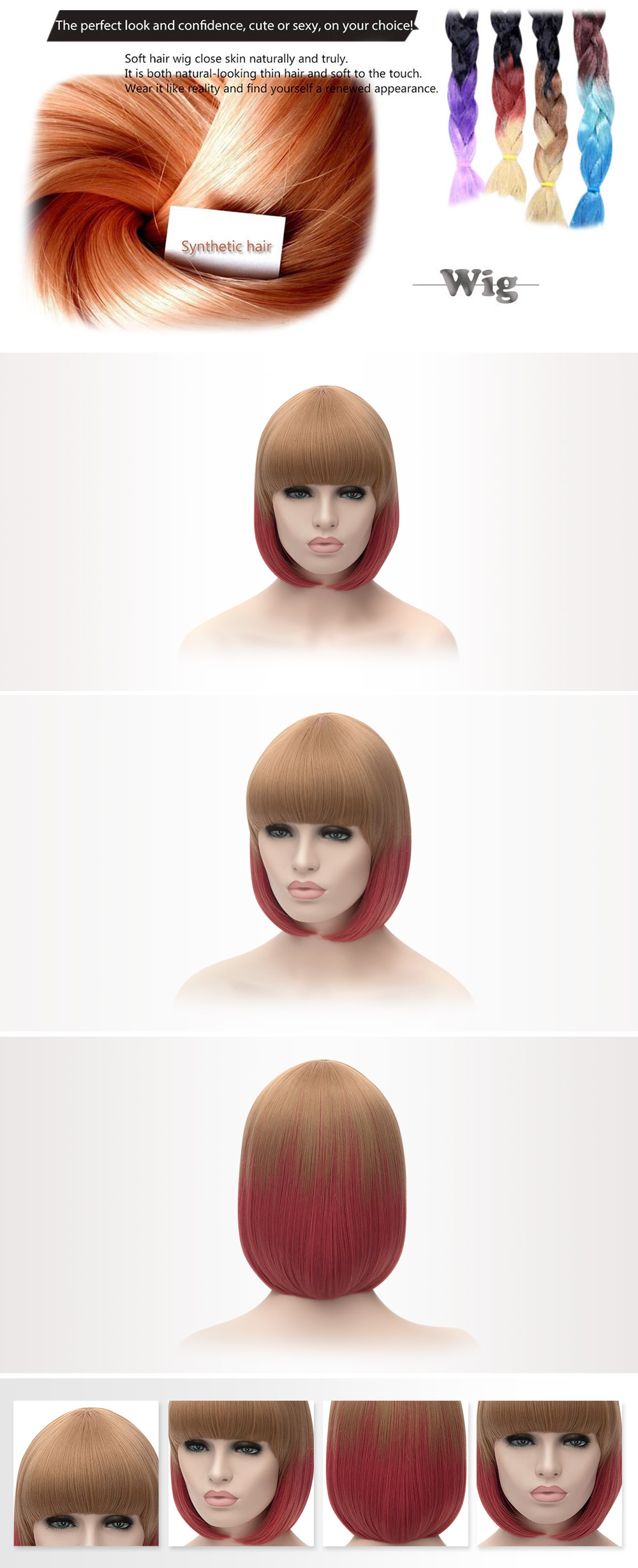 Medium Straight Celebrity Hairstyle Mixed Colors Wigs for Women