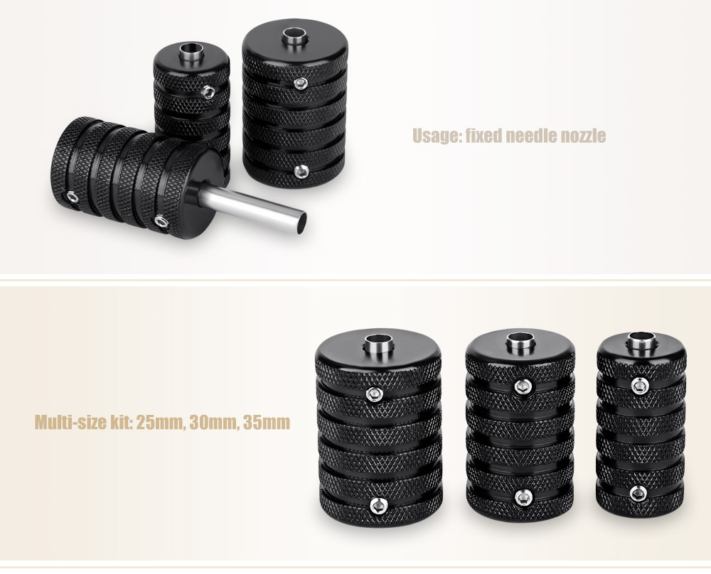 3pcs / Set 25mm 30mm 35mm Aluminum Alloy Tattoo Grips Supply with Back Stem Wrench