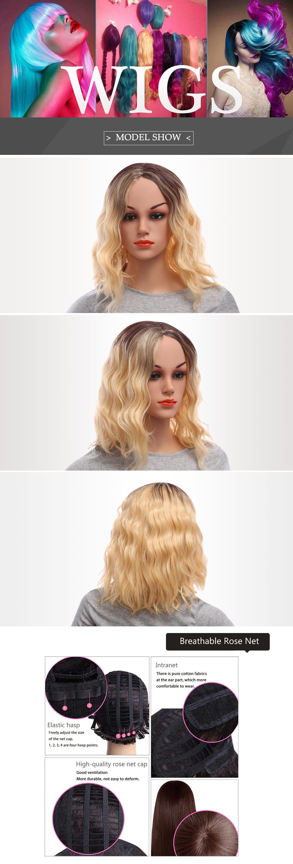 Women Loose Wavy Lob Gradient Mixed Colors Synthetic Wigs