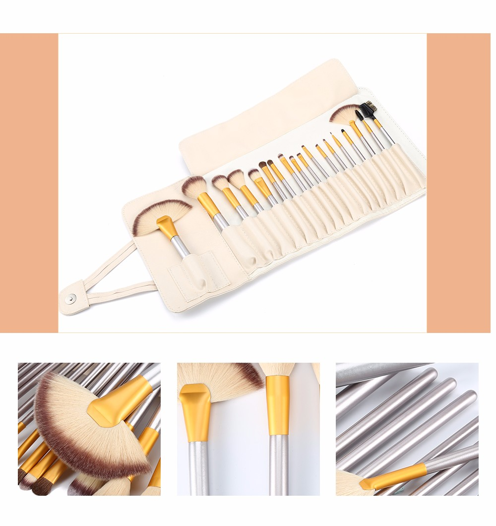 18pcs Beige Powder Foundation Brushes Cosmetic Makeup with Storage Pouch