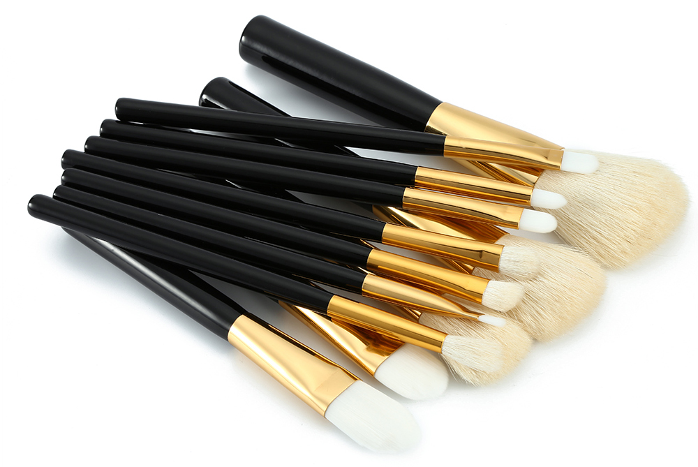 12pcs Professional Powder Foundation Brushes Black Golden Handle Makeup Tools with White Hair