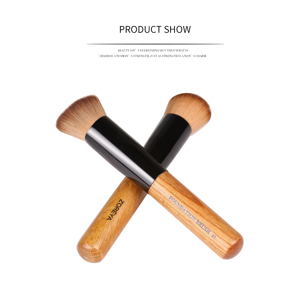 Professional Brown Foundation Brush Fraxinus Mandschurica Handle with Polyamide Hair Cosmetic Tool