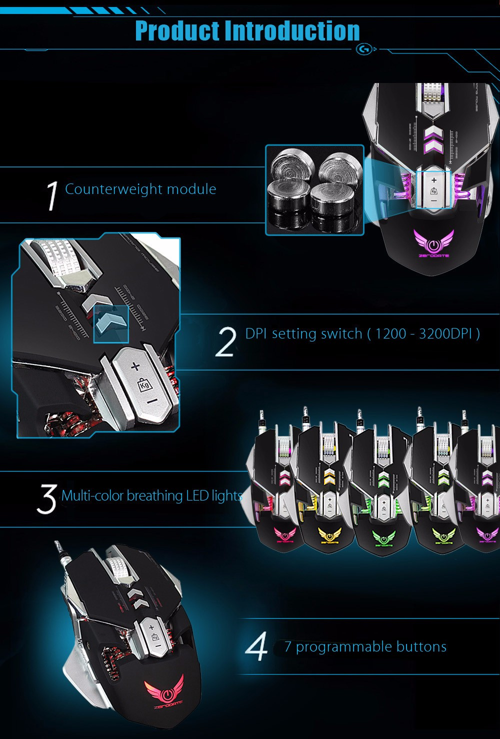 ZERODATE X300 Professional Optical Programmable Wired Gaming Mouse