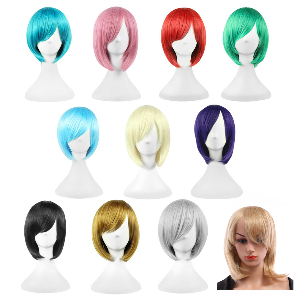 32cm Bob Short Straight Wigs Cosplay Synthetic Hair