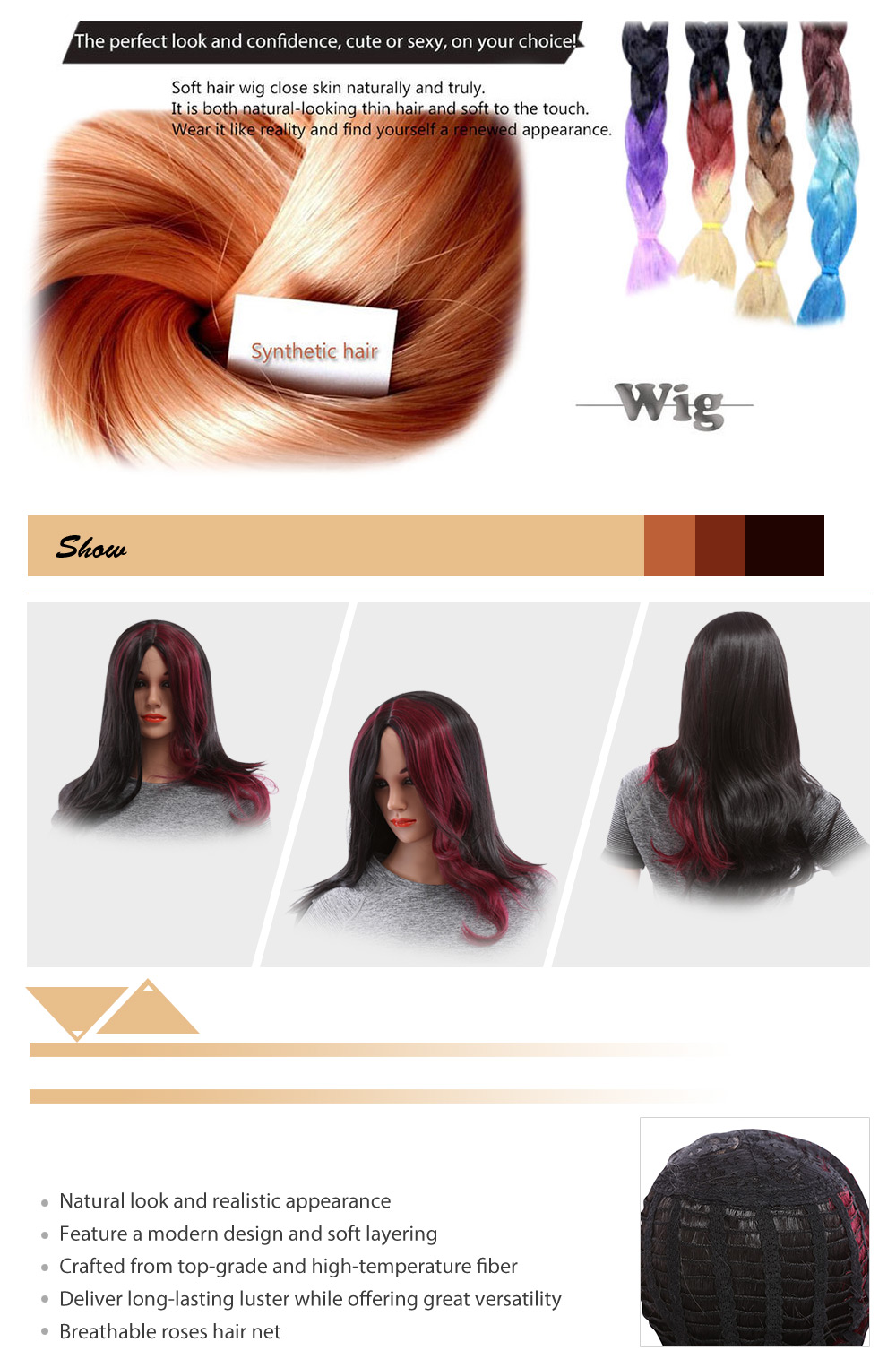 Women Long Red Wine Oblique Volume Bangs Wigs Heat Resistant Synthetic Hair