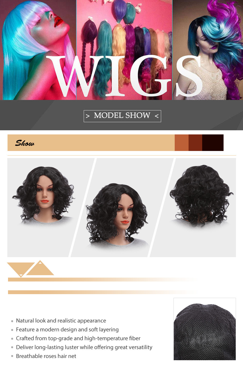 Party Carve Long Curly Inflated Fluffy Afro Hair Wigs for Girl