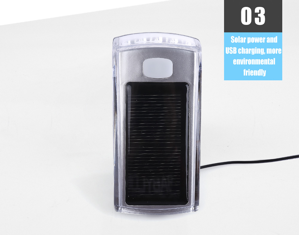 Bike USB Rechargeable Solar Cycling 4 LEDs Front Light Bicycle Handlebar Lamp with Horn
