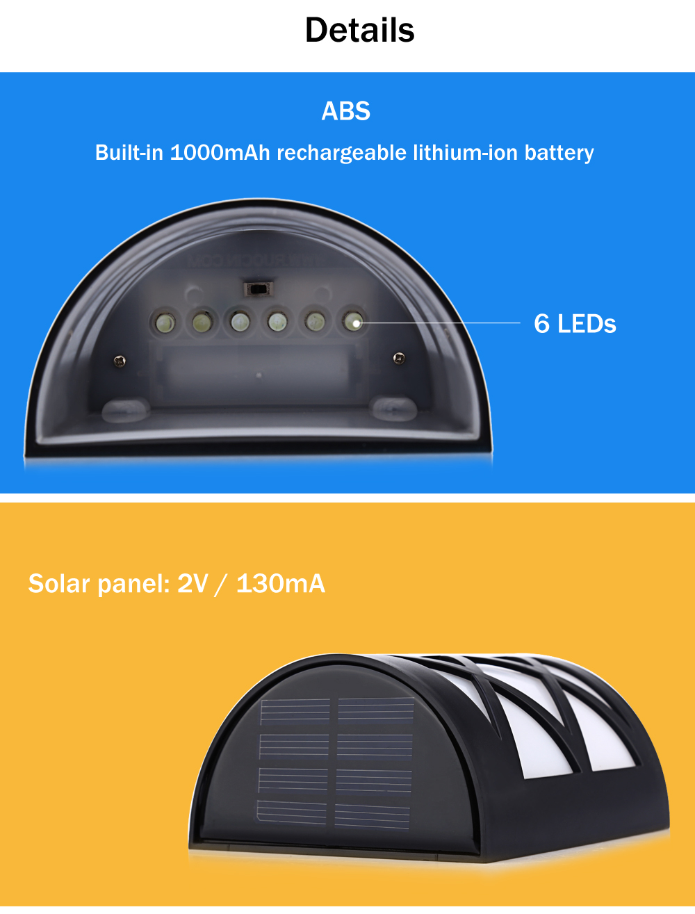 2PCS 1.2V 0.36W Solar Powered LED Fence Lamp Wall Garden Light with 6 LEDs