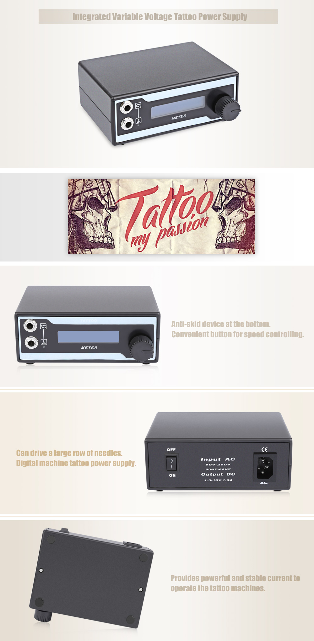 Integrated Variable Voltage Tattoo Power Supply for Foot Switch