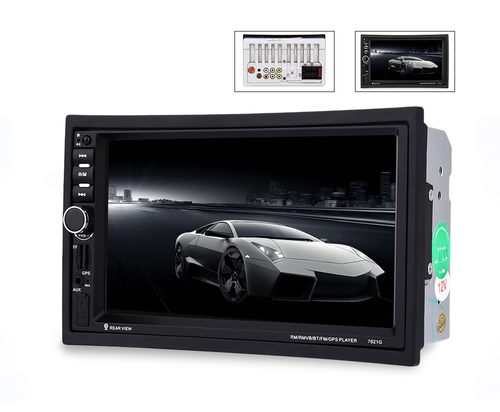 7021G 7 inch Vehicle MP5 Player 2 Din Bluetooth Multimedia FM Radio GPS Rear View Camera Remote Control