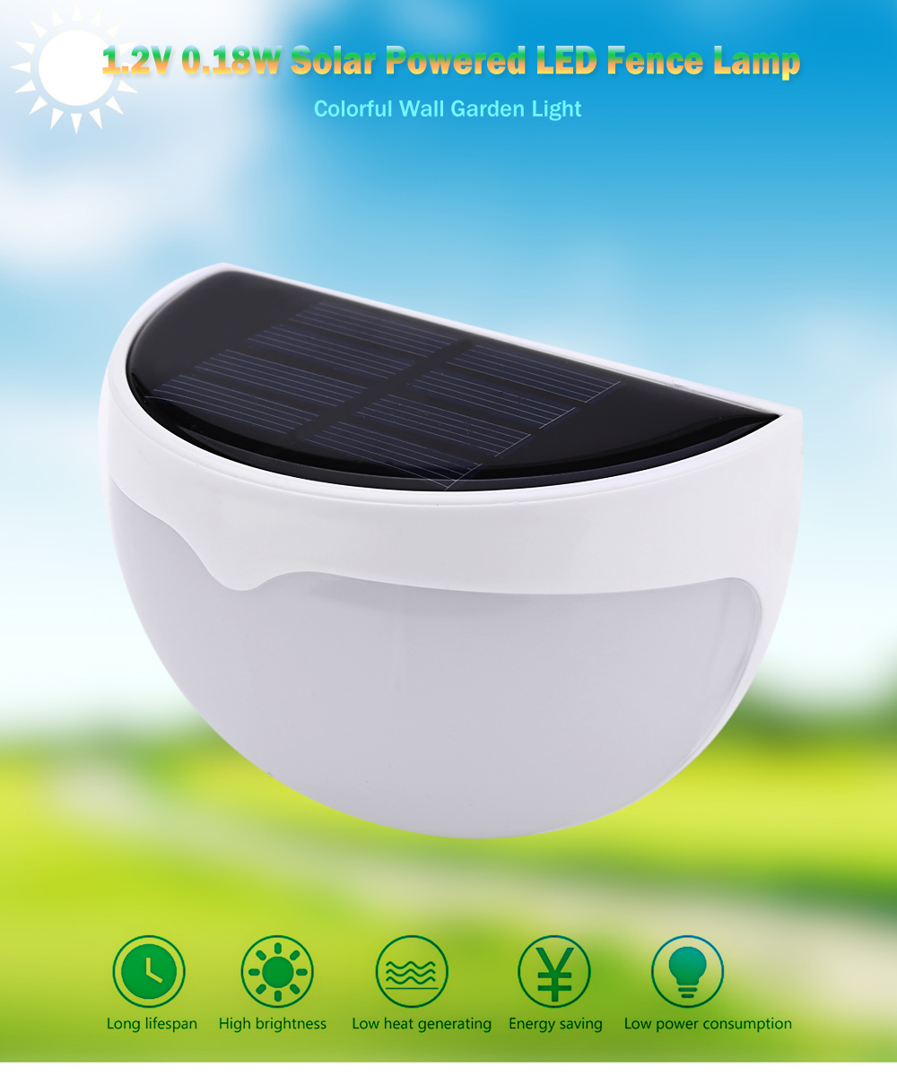 1.2V 0.18W Solar Powered LED Fence Lamp Colorful Wall Garden Light