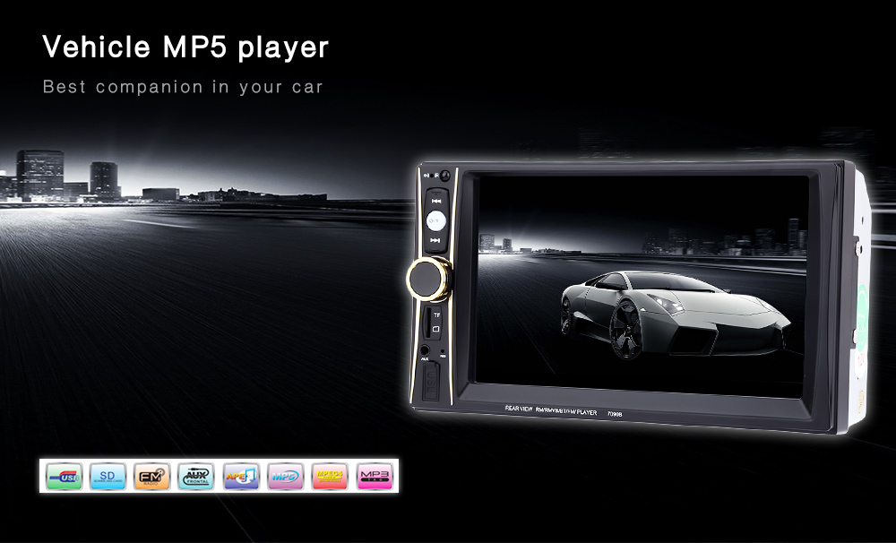 7090B 6.5 inch Vehicle MP5 Player 2 Din Bluetooth Multimedia FM Radio 1080P Video Remote Control