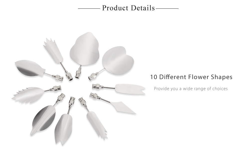 10pcs Stainless Steel 3D Gelatin Jelly Needles Cake Flower Mold Tools