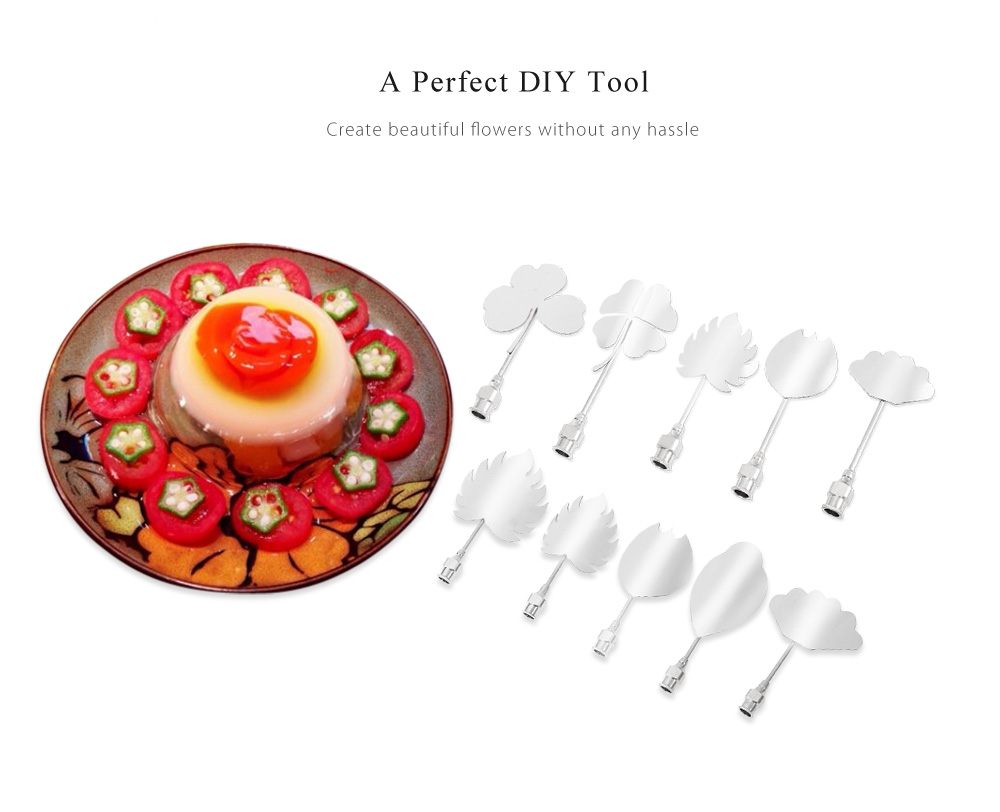 10pcs Stainless Steel 3D Jelly Needles Cake Flower Mold Tools