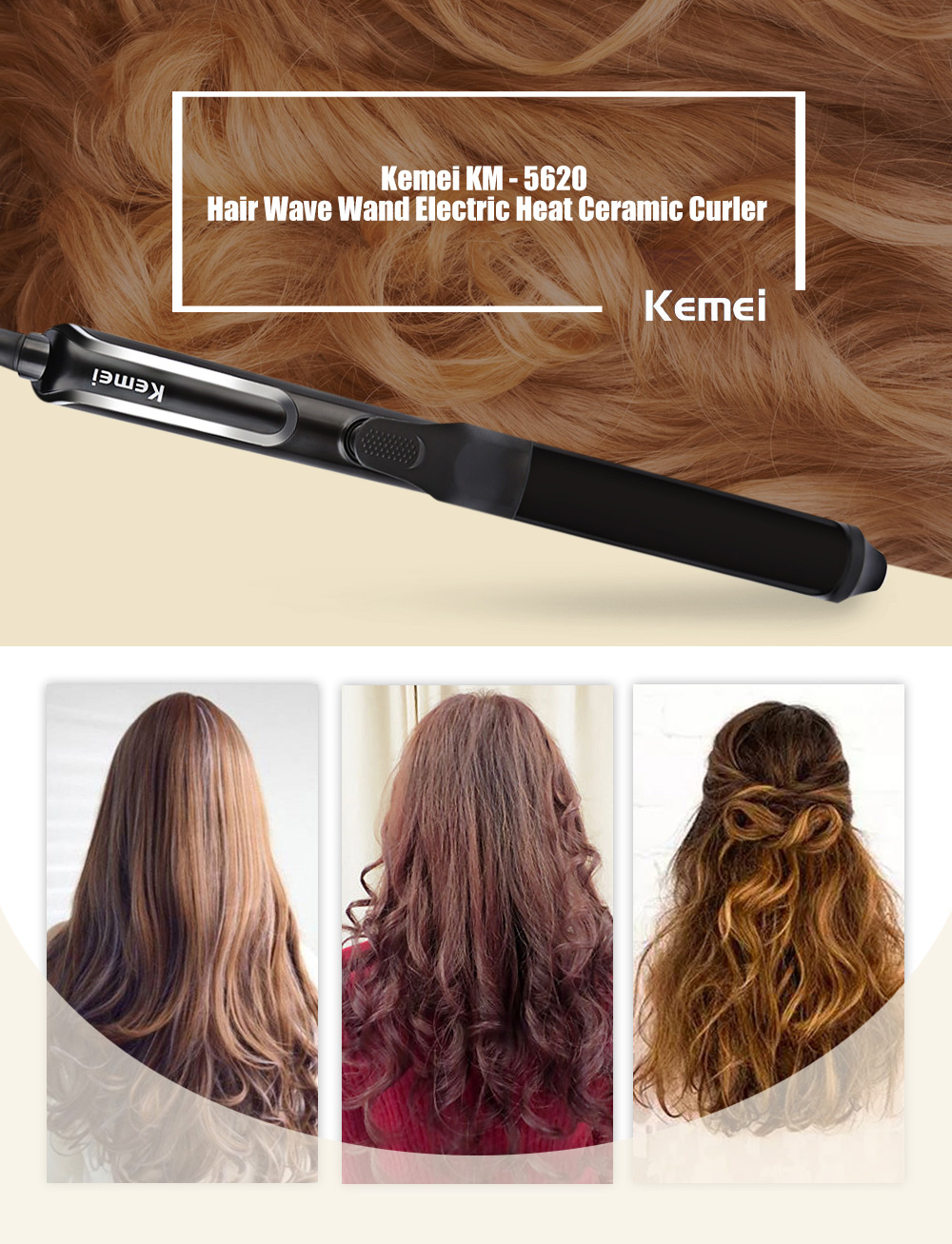 Kemei KM - 5620 Hair Wave Wand Rollers Iron Electric Heat Ceramic Curler