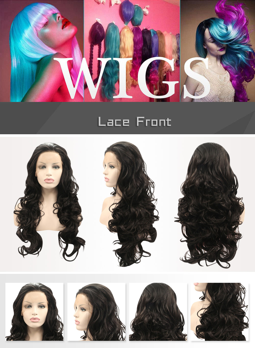 Women Loose Curly Synthetic Lace Front Natural Black Wigs
