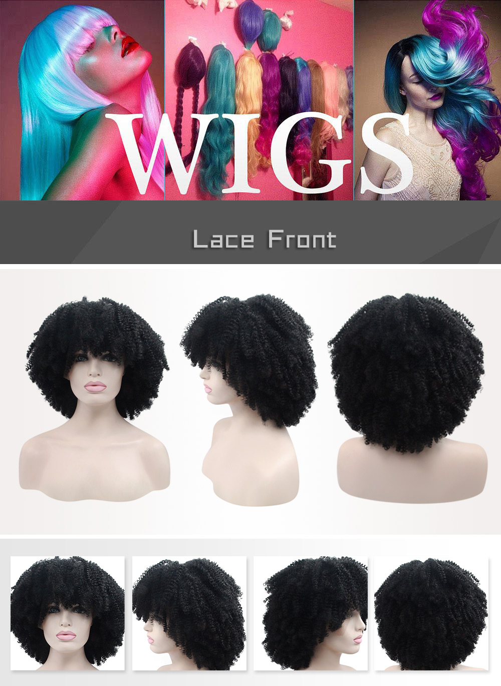 Fluffy Afro Short Curly Full Bangs Synthetic Lace Front Wigs for Women